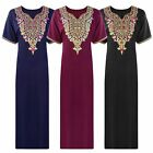 LADIES 100% COTTON LONG NIGHTDRESS NIGHTY CHEMISE EMBROIDERY DETAILED SIZE 22-32