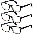 3 Pairs Fashion Readers Spring Hinge Reading Glasses for Men and Women