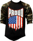 Men's Proud USA Flag Camo Baseball Raglan T Shirt July 4 American pride Military