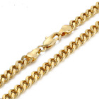 18K Gold Filled Heavy Stainless Steel Curb Cuban Link Chain Men Necklace