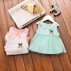 Summer Toddle Baby Girls Sleeveless Lapel Tulle Dress Kids Princess Dress 6M-3T