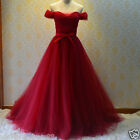 Red Off the Shoulder Long Evening Wedding Dreses Classic Bridal Gown Custom Size