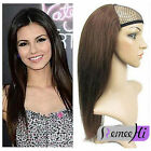 "15""-24"" Machine weft cap Indian Remy Human Hair Glueless 3/4 Half Wig 120g-200g"