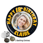 Personalised 18th 21st 30th 40th 50th Birthday PHOTO Badge N8 ANY AGE