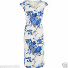 New JACQUES VERT Tea Dress 16 20 shift White Floral Blue Grey Cap Sleeve Piping