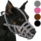 Leather Dog Muzzle Doberman Basket Medium Large Secure Pink Gray Brown Black