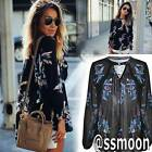 Fashion Women Chiffon Floral Embroidered Long Sleeve Blouse Casual T Shirt Tops
