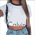 Black & White Calvin Crop T-Shirt Top Size S-XL