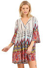 Umgee Women's BOHO Orange Mix Hippie Baby Doll Boho Dress Regular & Plus