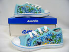 New  Girls Canvas Low -Top Athletic Shoe  ( Lt Blue-Sealife )  Sizes 2, 3, and 4