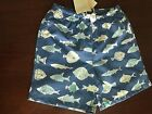 NWT 6-12M 18-24M 2/3 or 3/4 Mini Boden Swimming Trunks Blue w/ Whimsical Fish