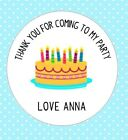 30 Custom Birthday Cake Thank You For Coming To My Party Round Birthday Stickers
