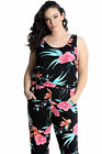 New Ladies Plus Size Jumpsuit Women All In One Floral Print Side Pocket Nouvelle
