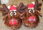 women's Joe Boxer RUDY REINDEER SANTA HAT PLUSH slippers.