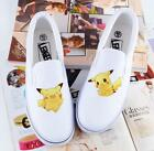 Children Hand-Painted Canvas Shoes Pocket Monster Pikachu Sneaker for Boy Girl