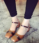 Women Fashion Square Toe Metallic Buckles Ankle Strap Low Heel Casual Work Shoes