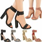 Womens Ladies Studded Block High Heels Buckle Ankle Strap Open Toe Sandals Size