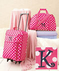 3 Pc Girls Kids LUGGAGE MONOGRAM ROLLING SUITCASE DUFFEL BAG CLUTCH in 11 LETTER