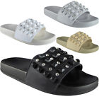 Womens Ladies Comfy Plain Rubber Stud Sliders Flats Shoes Slides Slippers Size