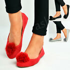 New Womens Ladies Flat Pom Pom Ballerina Dolly Pumps Slip On Shoes Size Uk 3-8