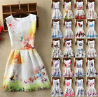 UK Vintage Womens Print Sleeveless Skater A-line Jacquard Ladies Casual Dress