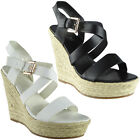 Womens Ladies Ankle Strap Buckle Espadrilles Platform Shoes Wedge Sandals Size