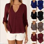 Womens Ladies fashion V-neck button Chiffon Tops Long Sleeve Shirt Casual Blouse