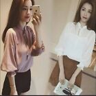 HQT womens lace up korean Shirt puff sleeve top & Blouse + Camisole 2PCS Suits