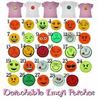 Smiley Face KIDS T-Shirt CHOOSE TWO DETACHABLE EMOJI Girls Top Removable Patches