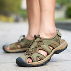 Men Closed Toe Sport Sandals Outdoor Genuine Leather Casual Hiking Shoes US 6-12