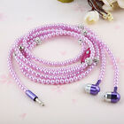 Fashionable Pearl Necklace Earphones Mic Beads  In-ear Universal Headphone