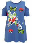 NEW LADIES BLUE COLD SHOULDER TOP BUTTERFLY FLORAL PRINT  PLUS SIZE 16-20, 22-32