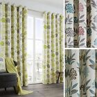 Karsten Retro Floral Lined Readymade Eyelet Curtains - 3 Colours