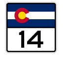 Colorado State Highway 14 Sticker Decal R1784 Highway Sign