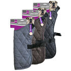 Quilted Dog Jacket for Dogs Pet Puppy Coat Vest Black Brown Grey 5 Sizes Sml Med