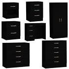 Riano Bedroom Furniture Black Wood Dressing Table Drawer Chest Storage Unit