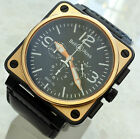 BELL & ROSS SOLID 18ct GOLD BLACK PVD BR01-94-S/R CHRONO AUTOMATIC AVIATION 46mm