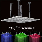 "LED Color Changing 20"" Large Shower Head Rainfall Square Head Ceiling Mounted"