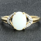 Ethiopian Opal Natural Gemstone & Diamond Ring In 10kt Solid Yellow Gold Jewelry