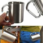 180ml Stainless Steel Coffee Mug Outdoor Camping Cup Carabiner Hook Double ZM
