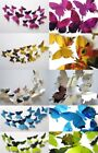 12 X 3d Decal Mirror Butterflies Wall Stickers Home Decors