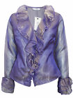 New Karida Ladies Iridescent Organza Cuff Blouse Wedding Purple or Black 10-16
