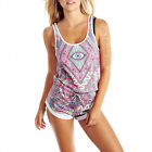 NWT WILDFOX COUTURE THIRD EYE CONTRAST FIJI TERRY TANK TOP GYM SHORT SHORTS SZ L