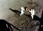 Neil Armstrong (left) and Buzz Aldrin (right) deploying the U.S. Flag, Apollo 11