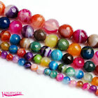 """6-14mm Faceted Round Natural Banded Multicolor Agate Gem Loose Beads Strand 15"""""""