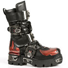 New Rock M.195-S1 Black Flame Red Leather Metel Buckle Strapped Boots
