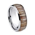Mens Luxury KOA Wood Tungsten Carbide Wedding Engagement Ring Band 8mm