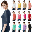 [FINAL SALE] Womens 3/4 Sleeve Cotton Blend Henley Neck T-Shirt With Lace Trim