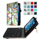 For All-New Amazon Fire HD 8 Tablet  2017 Folio Case Cover w/ Bluetooth Keyboard