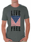 Live Free Patriotic Men's T shirt Tops USA Flag Independence Day